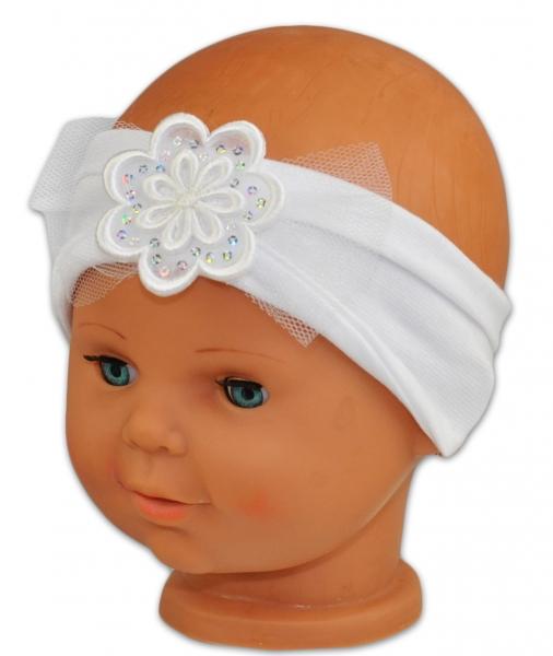 Čelenka Baby Nellys ® s květinkou a flitry - bílá - 38/40 čepičky obvod