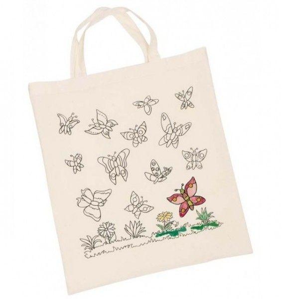 Dětská Eko bavlněná taška k vybarvení, 38x42cm - Motýlci