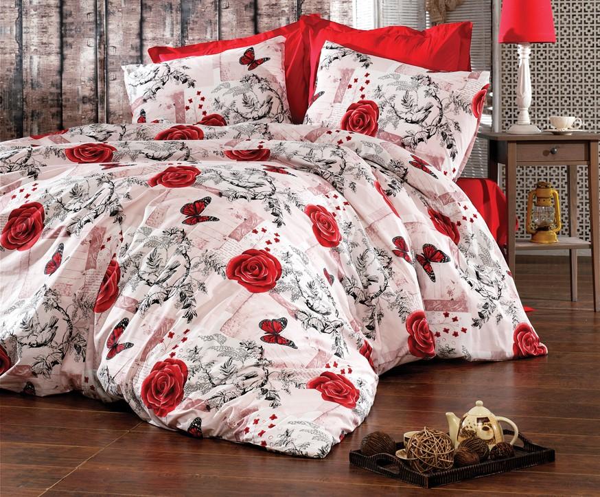 Povlečení francouzské krep 220x200, 70x90 Red roses, Výběr zapínání: zipový uzávěr