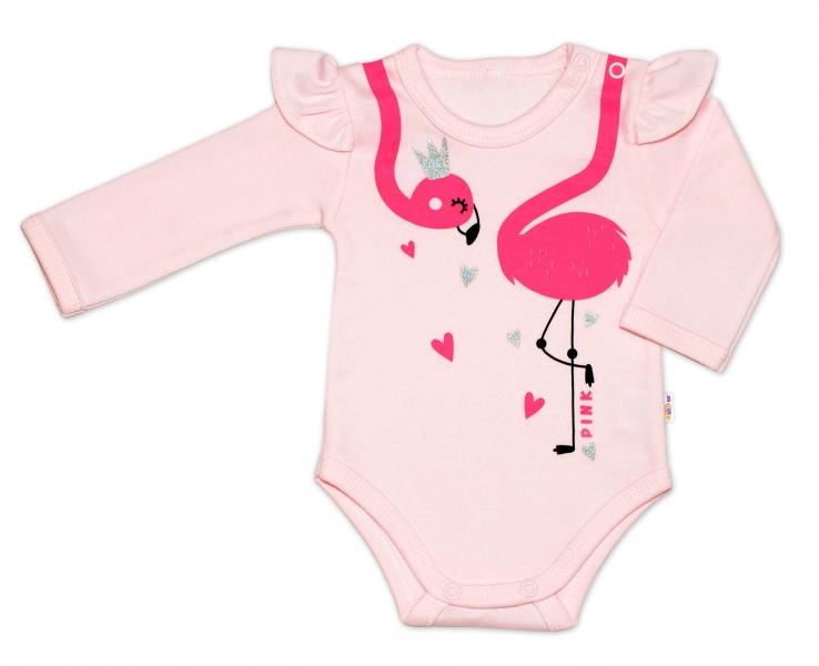Baby Nellys Bavlněné kojenecké body, dl. rukáv, Flamingo s volánkem - růžové, vel.