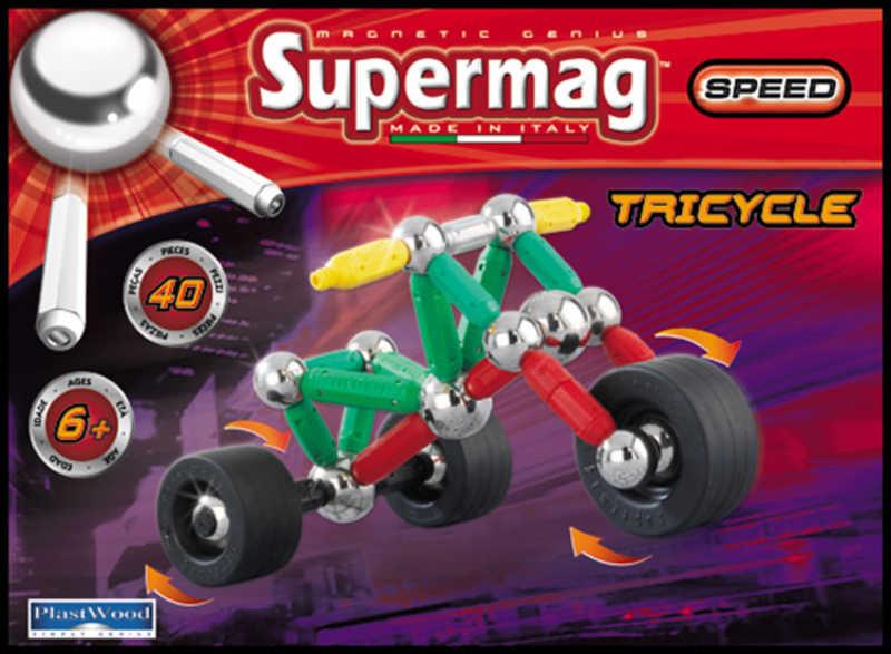 SUPERMAG tříkolka 40 dílků * MAGNETICKÁ STAVEBNICE *