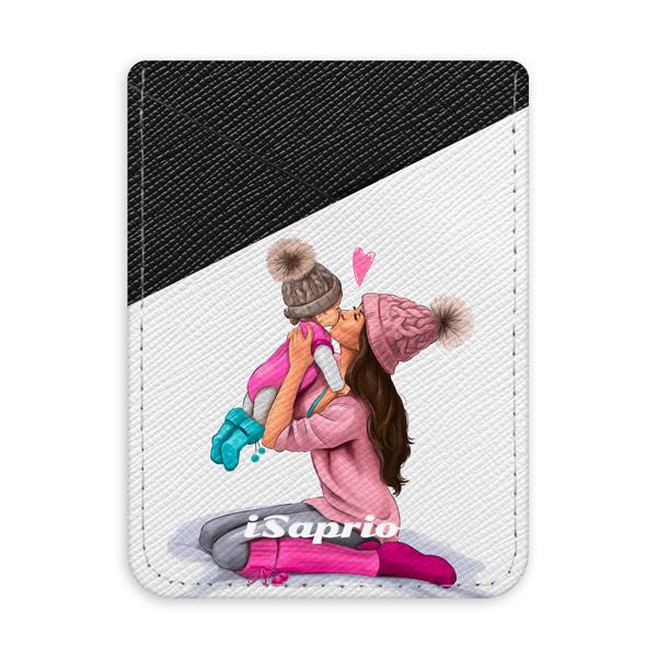 Pouzdro na kreditní karty iSaprio – Kissing Mom – Brunette and Girl – tmavá nalepovací kapsa
