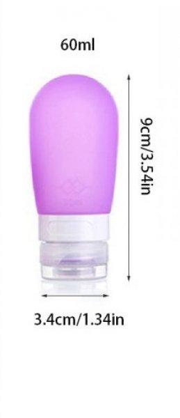 Cestovní silikonová lahvička na tekutiny - Fialová - 60 ml