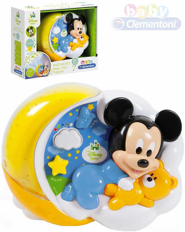CLEMENTONI Baby projektor Mickey Mouse kouzelné hvězdy s melodiemi na baterie