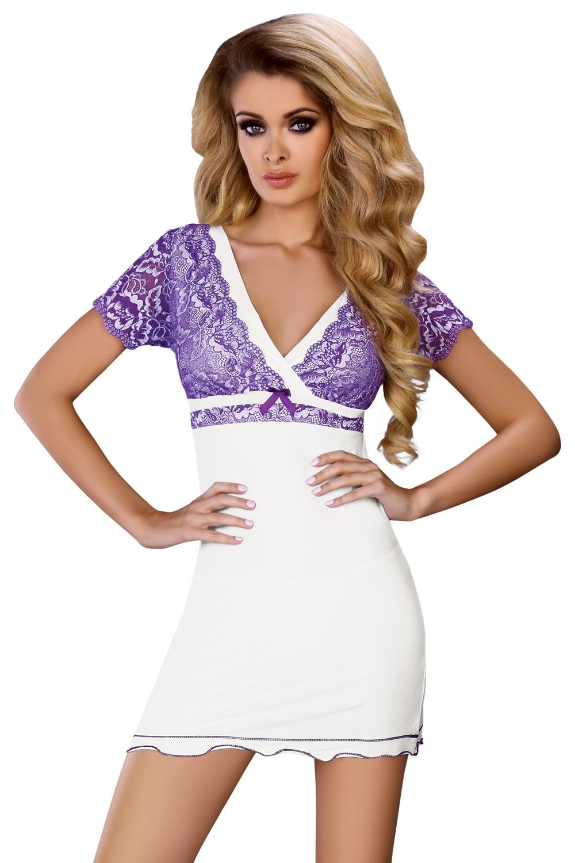 Dámská košilka Trudy - Bílo-fialová/L/XL