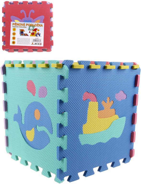 Baby puzzle pěnový koberec Zvířátka Dopravní prostředky 10ks měkké bloky vkládací