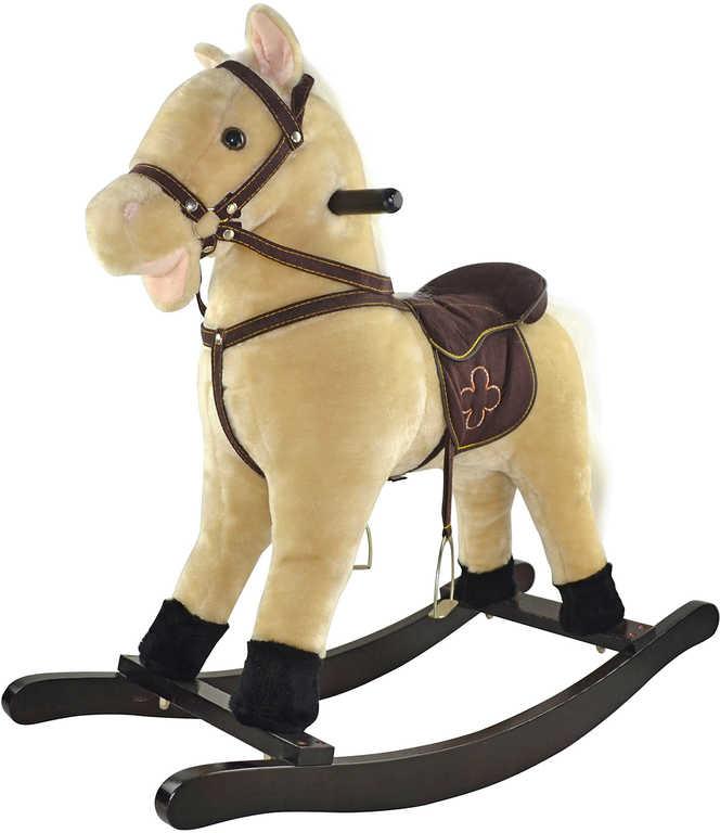 DŘEVO Kůň plyšový houpací 65x71cm béžový se sedlem a 2 madly