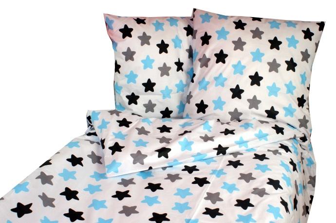 Bavlněné povlečení 140 x 200/70 x 90 - barevné hvězdičky - modré - 140x200/70x90cm