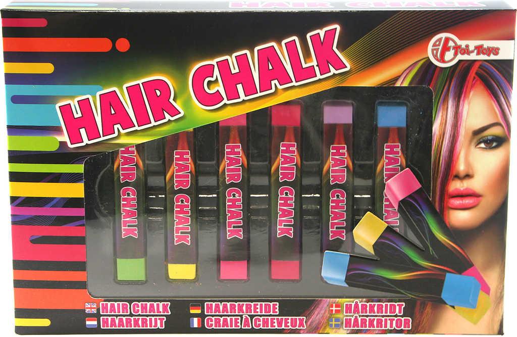 Barevné křídy na vlasy vonící kreativní set 6ks v krabičce