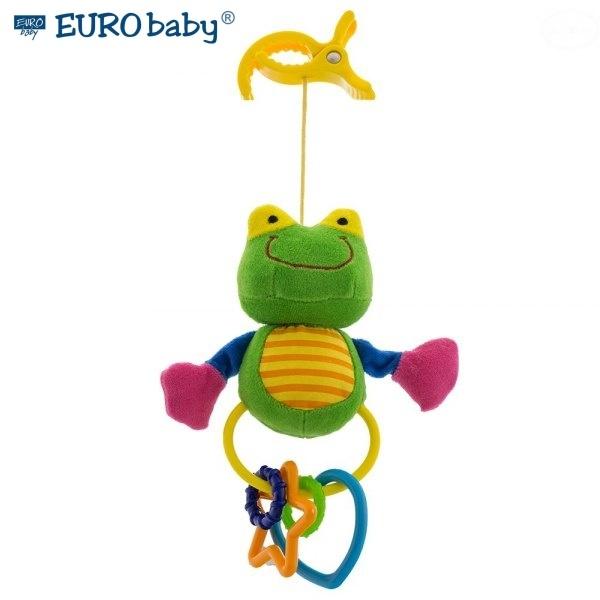 Euro Baby Plyšová hračka s klipsem a chrastítkem - Žabička, Ce19