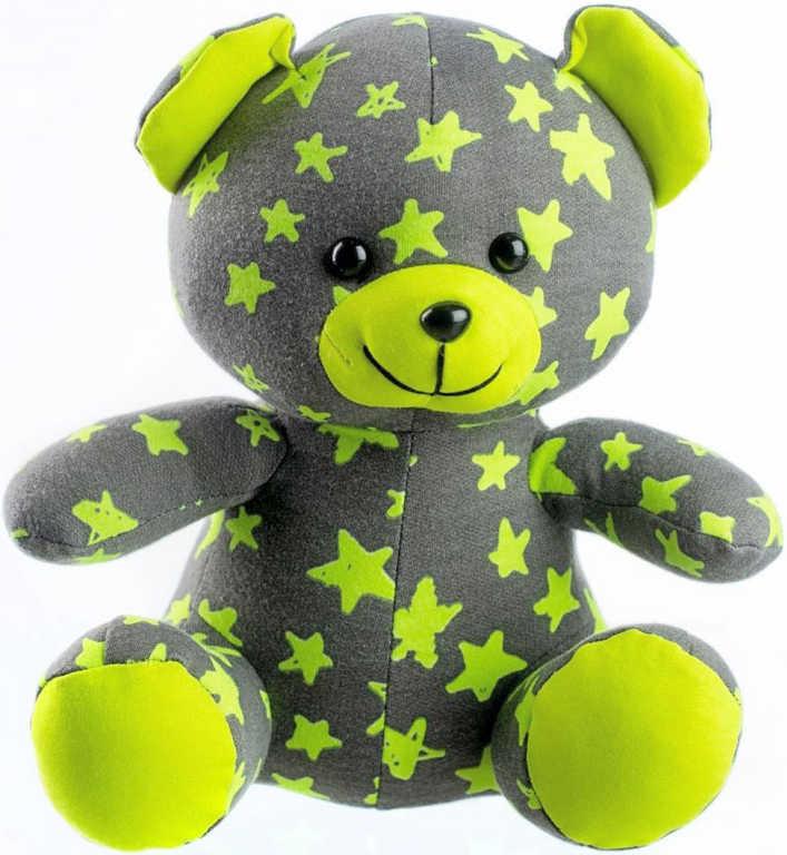 PLYŠ Baby medvídek svítící ve tmě 21cm šedo-žlutý s hvězdičkami fosforeskující