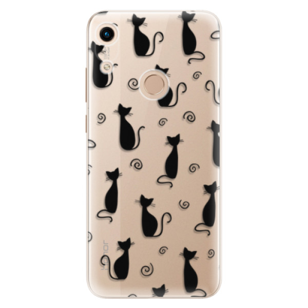 Odolné silikonové pouzdro iSaprio - Cat pattern 05 - black - Huawei Honor 8A