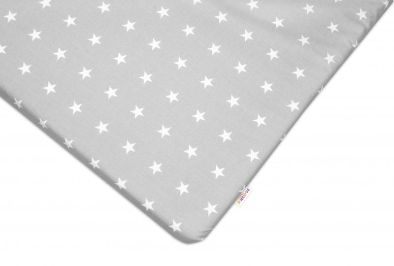 Baby Nellys Bavlněné prostěradlo 60x120 cm - Hvězdičky bílé v šedé - 120x60