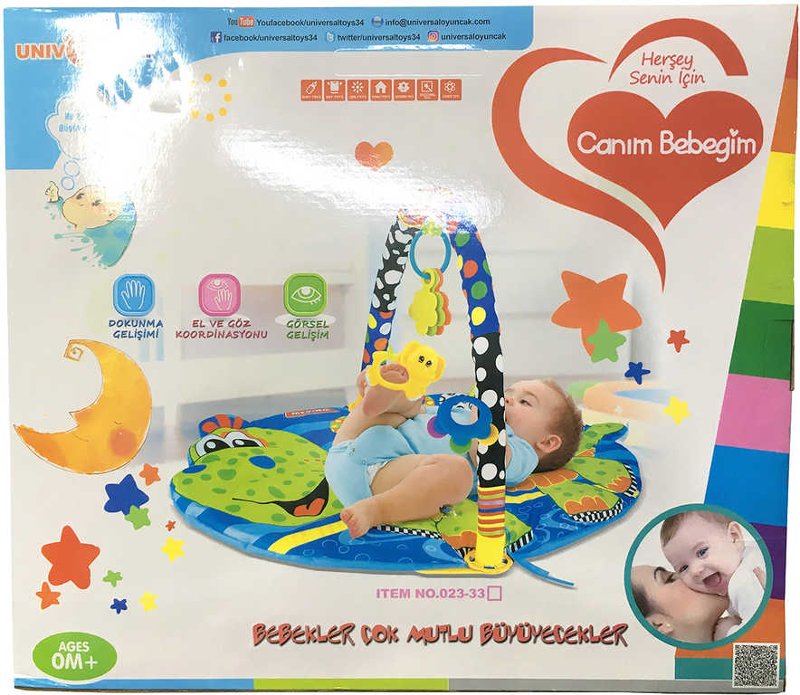 Baby hrazda s podložkou hrací deka se závěsnými hračkami pro miminko