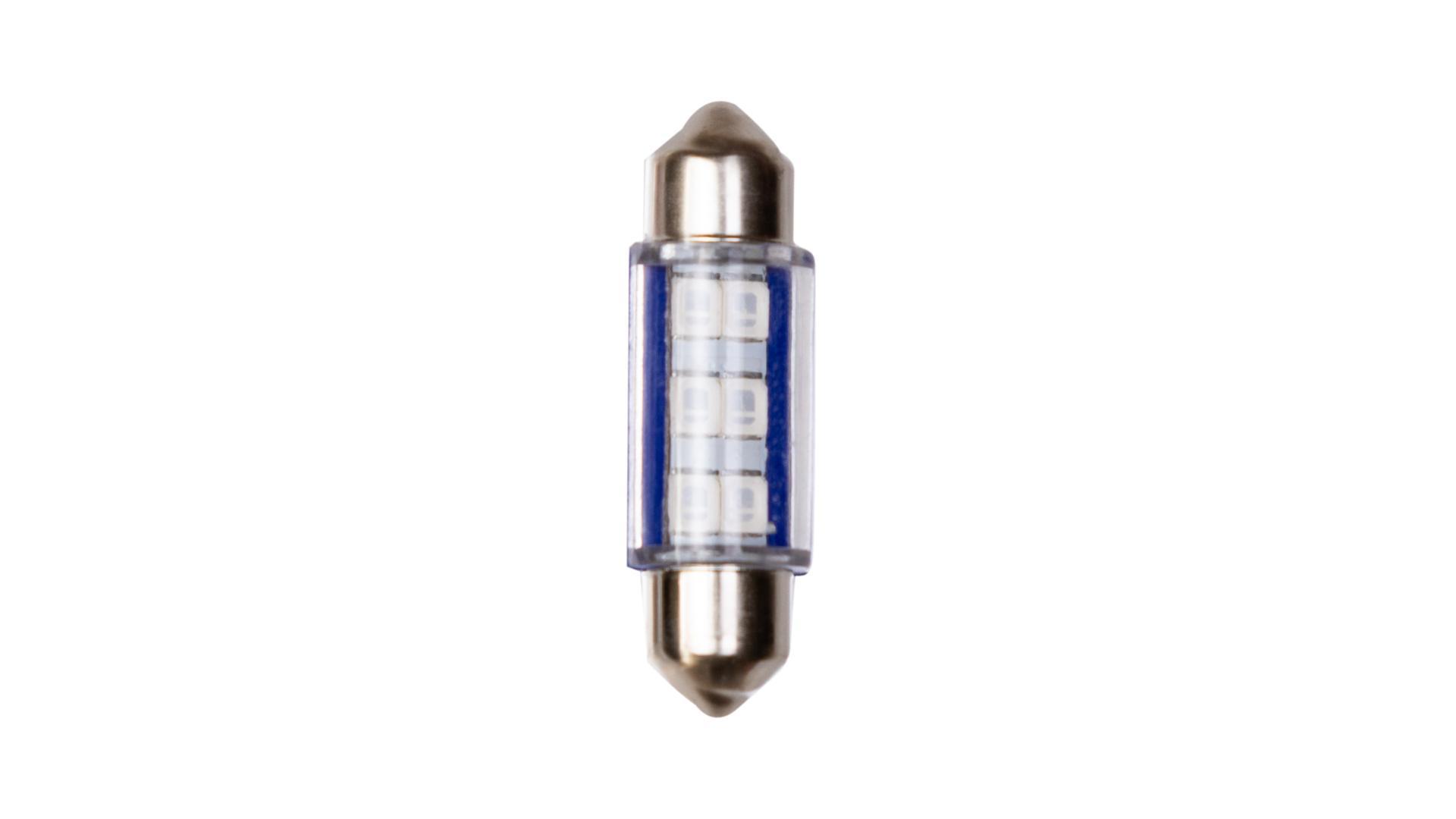 4CARS LED žárovka 6LED 12V SV8,5 36mm modrá