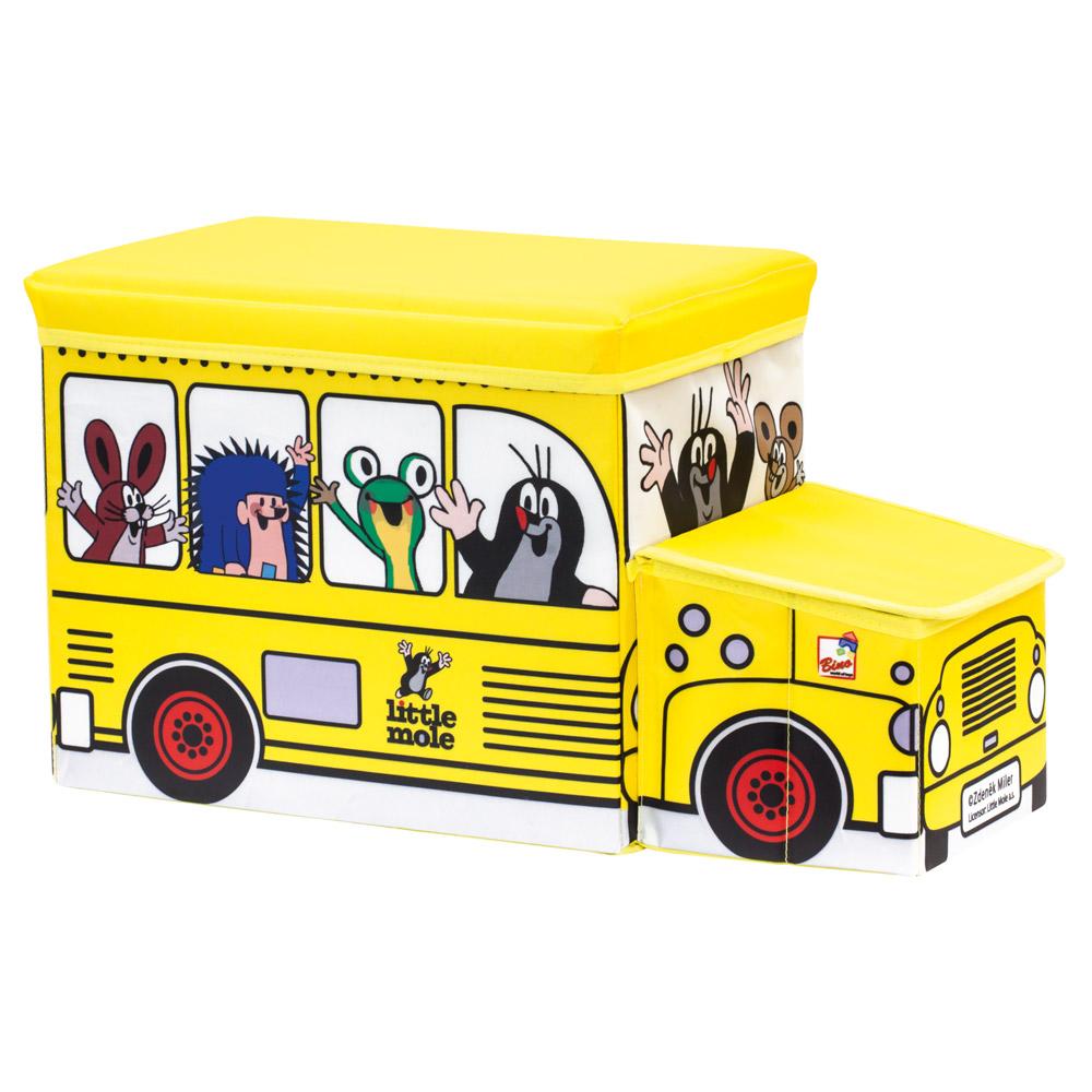Krtek krabice na hračky - žlutý bus