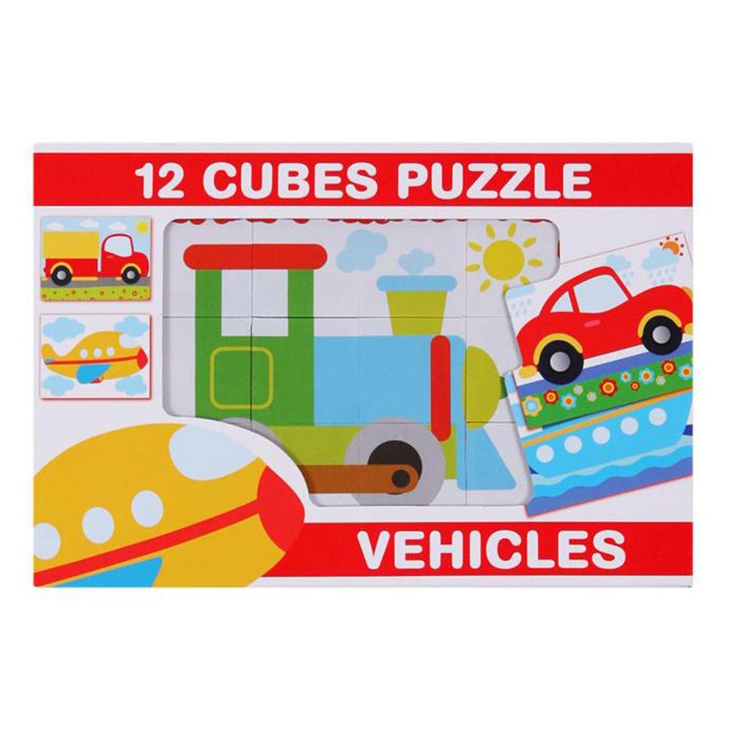 Skládací obrázkové kostky 12 ks - vozidla - dle obrázku