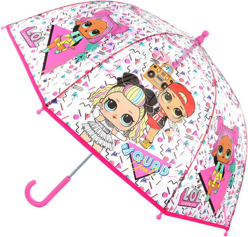 Deštník dětský holčičí L.O.L. 64x71cm průhledný manuální v sáčku