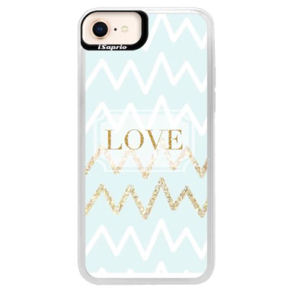 Neonové pouzdro Blue iSaprio - GoldLove - iPhone 8