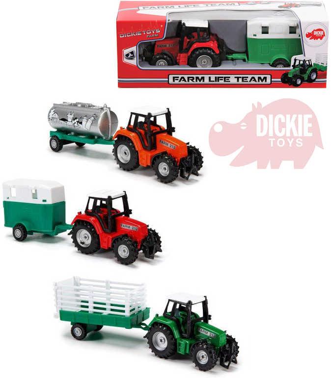 DICKIE Traktor kovový s přívěsem 18cm farmářský 3 druhy