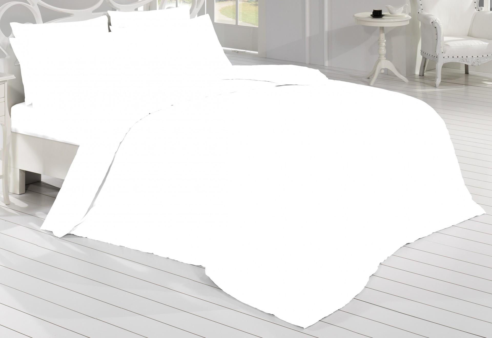 Francouzské povlečení Satén 200x200, 70x90cm Bílá, Výběr zapínání: zipový uzávěr