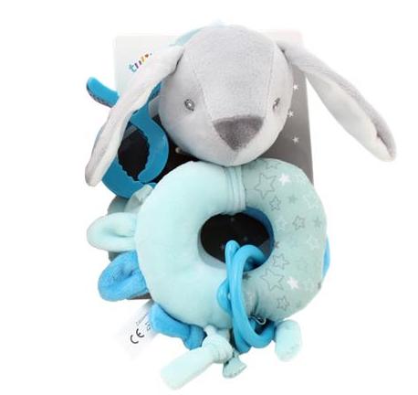 Závěsná plyšová hračka s klipem Králíček, 16 cm - mátový