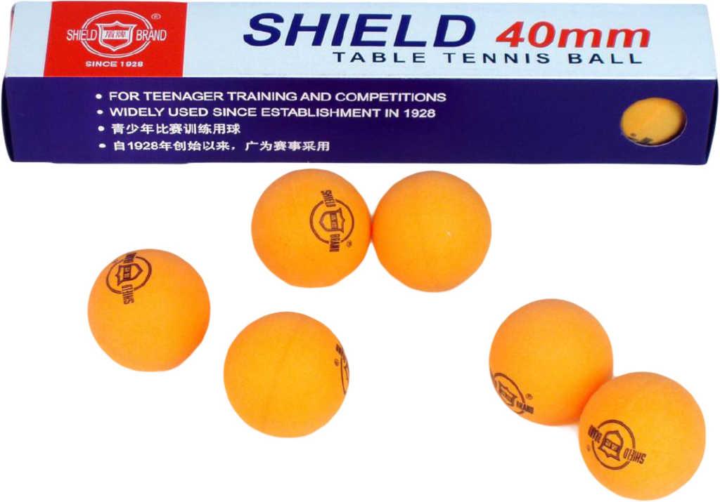 SHIELS Míčky na stolní tenis oranžové set 6ks 4cm ping pong v krabičce