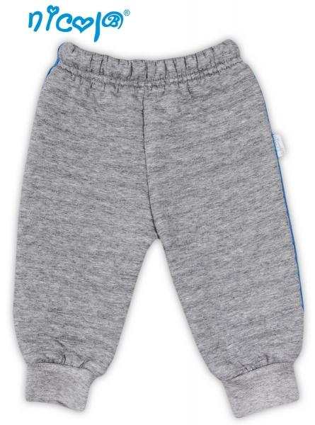 Tepláčky, kalhoty NICOL TUČŇÁK - šedé - 3D pruhy - 56 (1-2m)