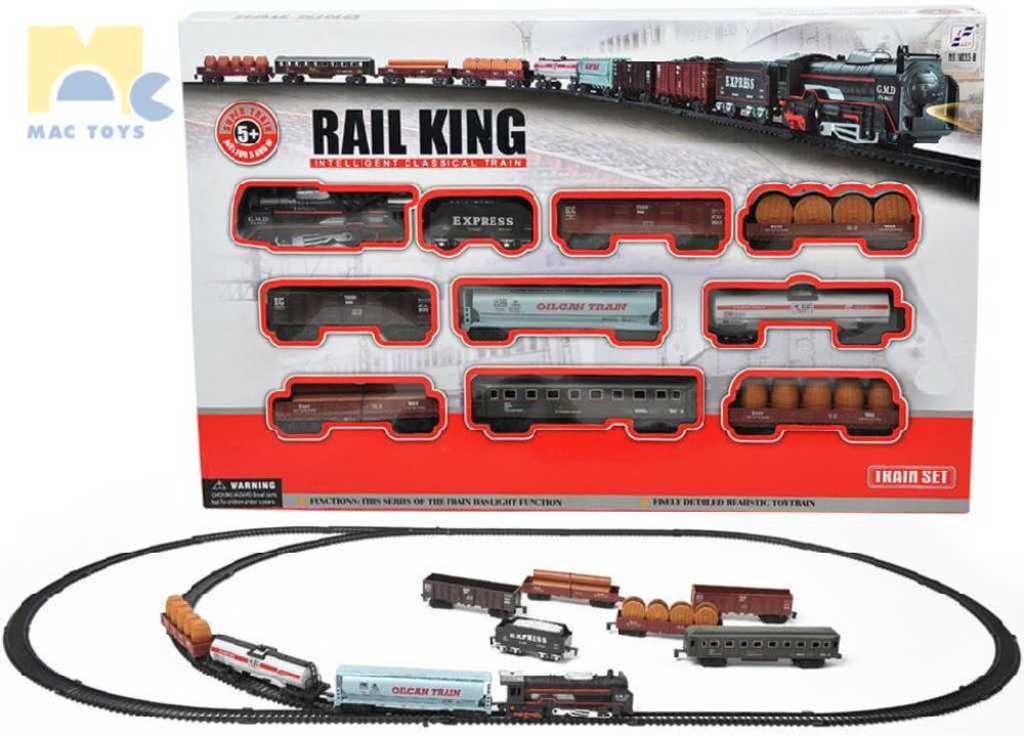 MAC TOYS Rail King sada vlaková větší lokomotiva + 9 vagónků s kolejemi