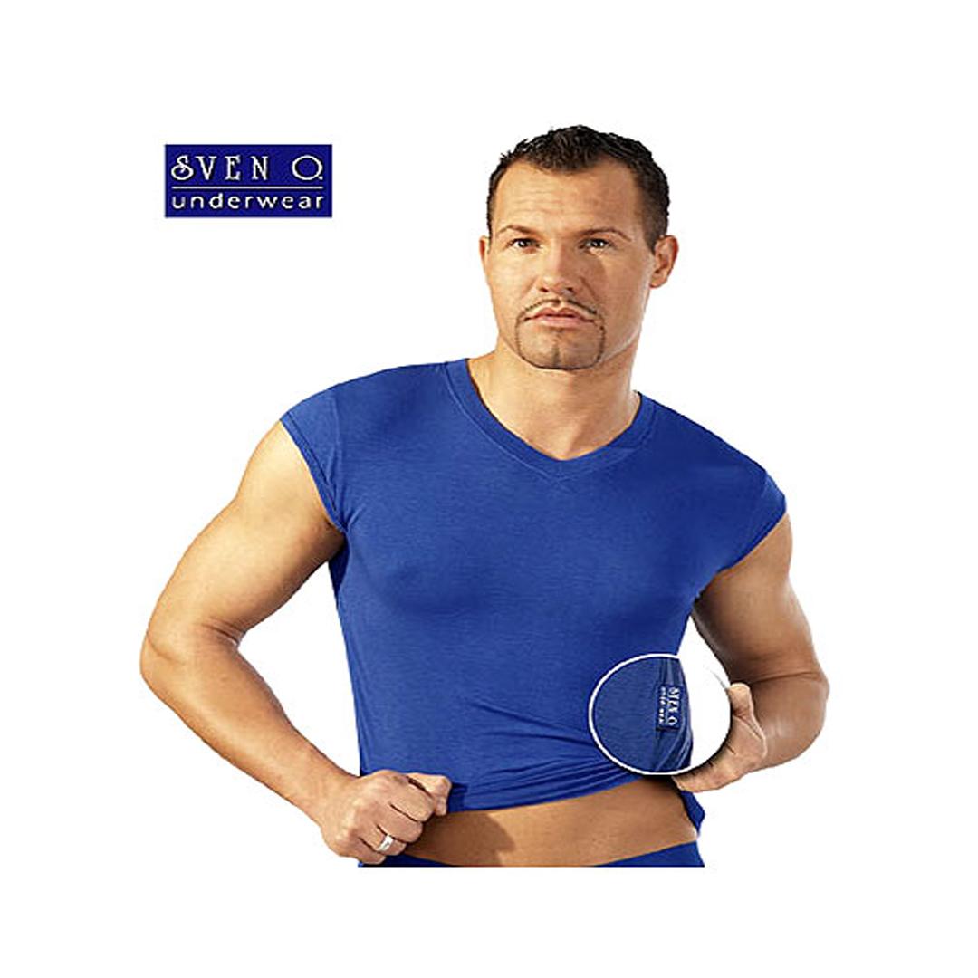 Pánské modré tričko bez rukávů (S)