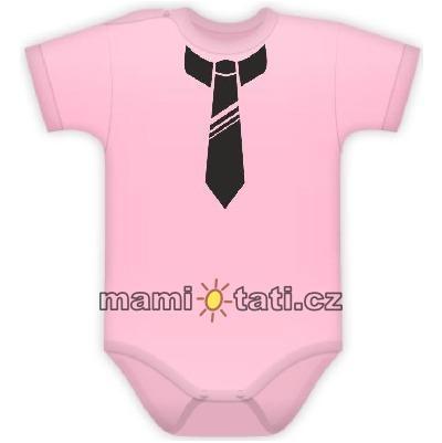 baby-dejna-body-kr-rukavek-s-potiskem-kravaty-sv-ruzove-62-2-3m