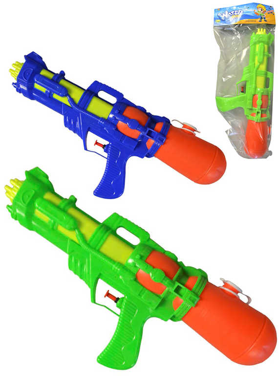 Pistole vodní 39cm se zásobníkem na vodu 2 barvy plast v sáčku