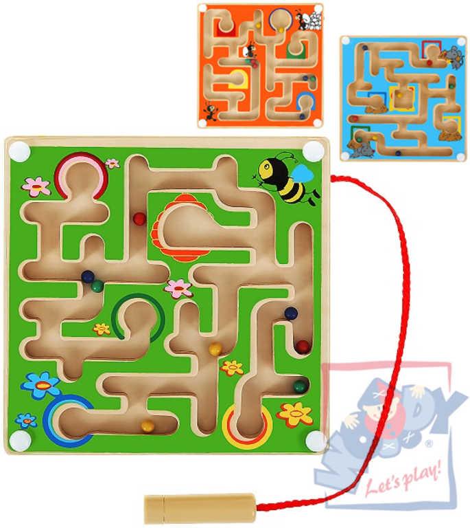 WOODY DŘEVO Mini labyrint bludiště s kuličkami 3 barvy *DŘEVĚNÉ HRAČKY*
