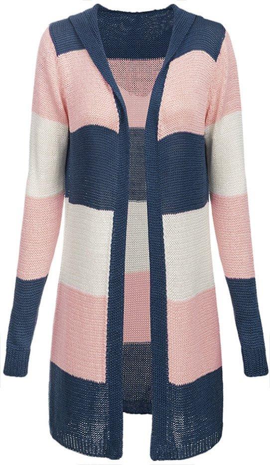 Modro-růžový dlouhý dámský svetr s kapucí (122ART) - Růžová/ONE SIZE