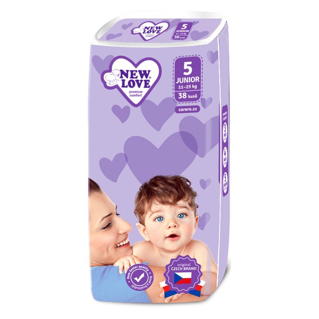 Dětské jednorázové pleny New Love Premium comfort 5 JUNIOR 11-25 kg 38 ks - bílá