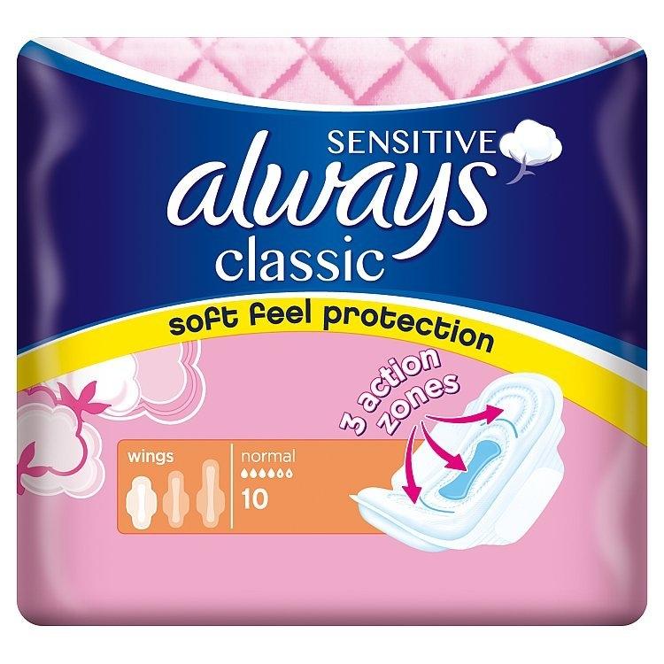 Classic Sensitive Normal hygienické vložky s křidélky 10ks/bal.