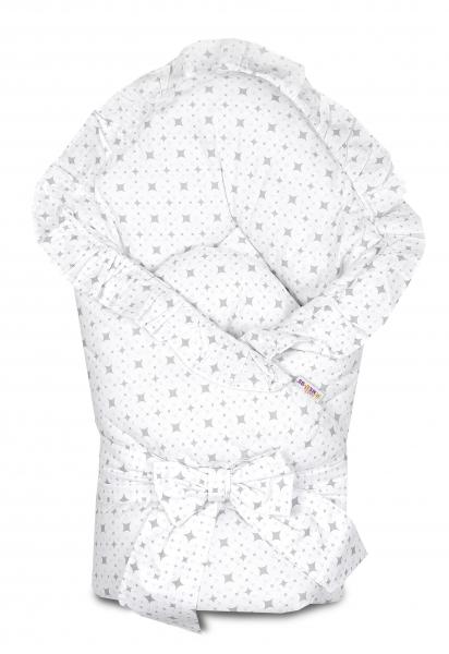 baby-nellys-rychlozavinovacka-80x80cm-s-volankem-a-stuhou-karko-svetle-sede-na-bile