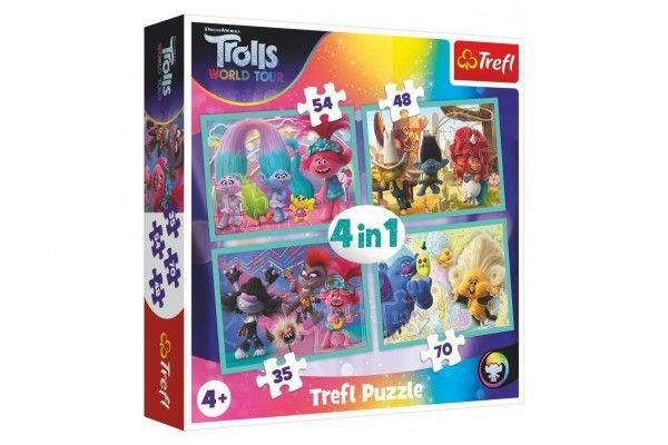 Puzzle 4v1 Trollové koncertní turné v krabici 28x28x6cm