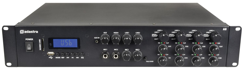 Adastra A8, mixážní 4-zónový zesilovač 8x 100W, BT/MP3/FM