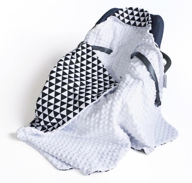 Luxusní bavlněná dečka 3v1 s minky, 90 x 90 cm, trojúhelníčky, černá/bílá