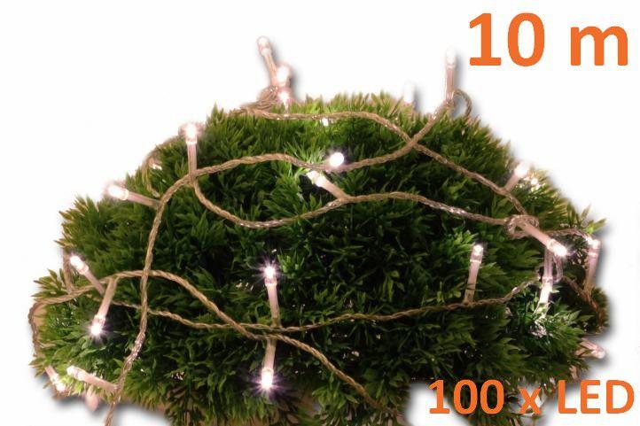 Vánoční LED osvětlení 10 m s časovým spínačem - teple bílé, 100 diod