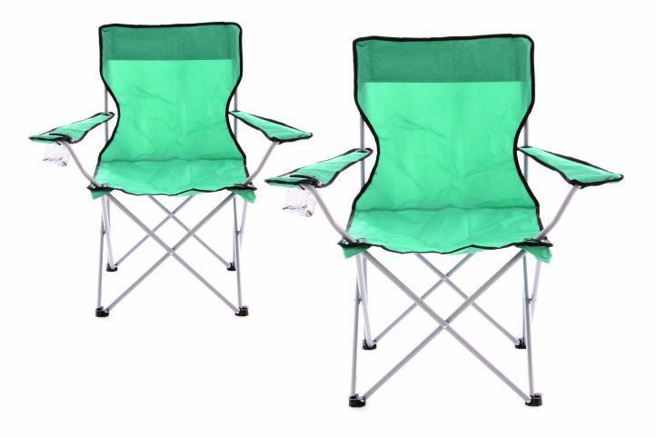 Sada 2 ks Skládací kempinková rybářská židle OXFORD - zelená