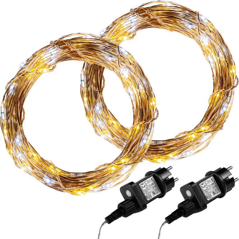 Sada 2 kusů světelných drátů - 50 LED, teple/studeně bílá