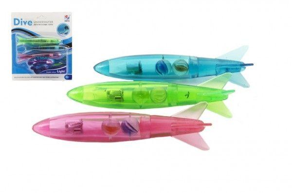 Torpédo pro potápění svítící 3ks plast 13cm na kartě