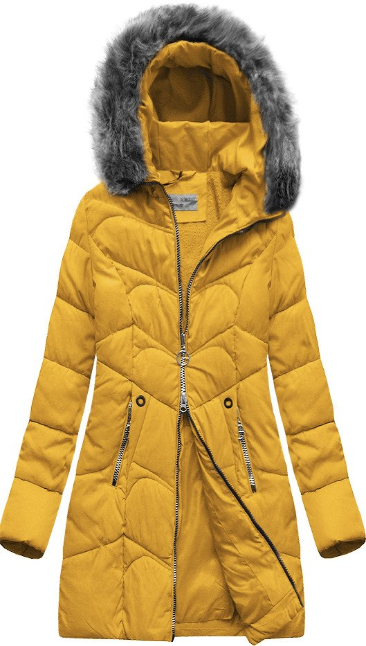 Žlutá prošívaná bunda s kapucí (B2643)