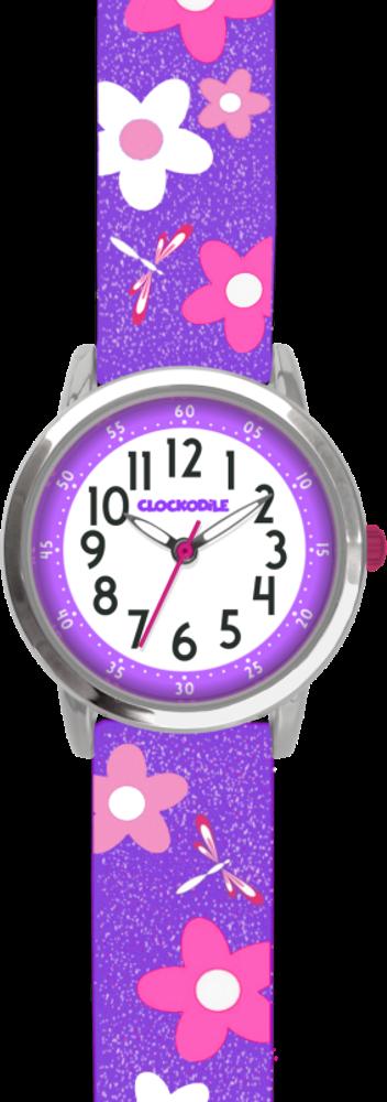 Květované fialové dívčí dětské hodinky CLOCKODILE FLOWERS se třpytkami