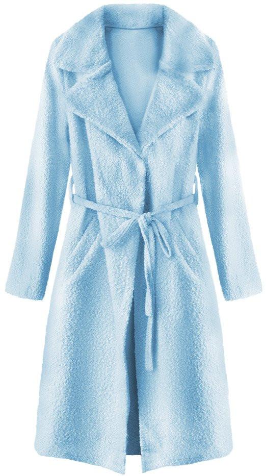 Světle modrý kabát imitující beránka s límcem (22593) - Modrá/ONE SIZE