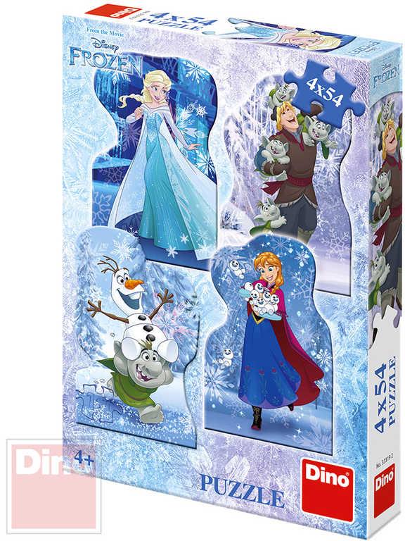 DINO Puzzle 4x54 dílků obrysové Frozen Zimní pohádka 13,5x19,5cm skládačka 4v1