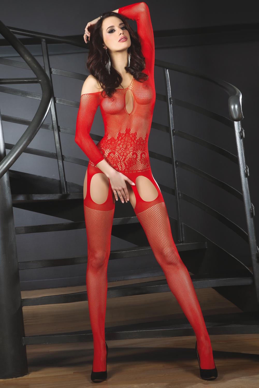 Bodystocking Adiva red - Červená/S/L