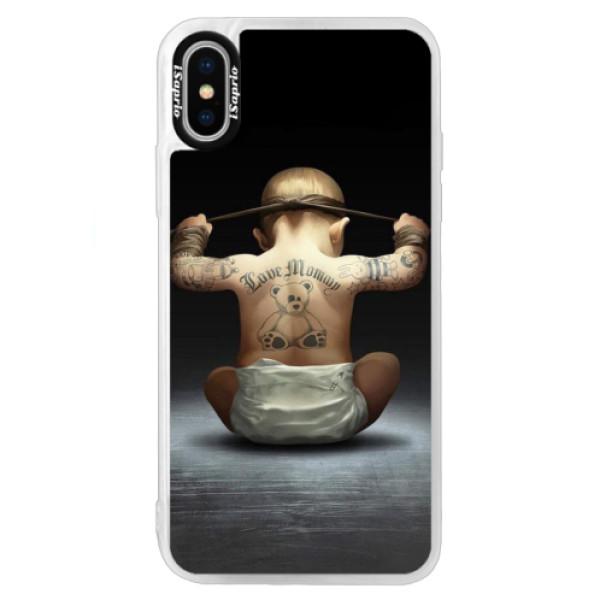 Neonové pouzdro Blue iSaprio - Crazy Baby - iPhone XS